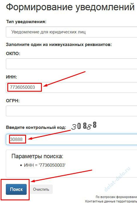 статистические коды организации по ИНН