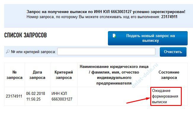 ожидание формирования выписки на сайте Налоговой службы