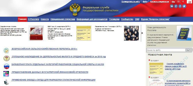 официальный сайт Федеральной службы государственной статистики